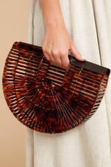 7 Up Your Style Brown Tortoise Acrylic Bag at reddressboutique.com