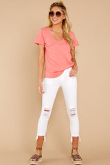 1 The Sugar Coral Cotton Slub Pocket Tee at reddressboutique.com
