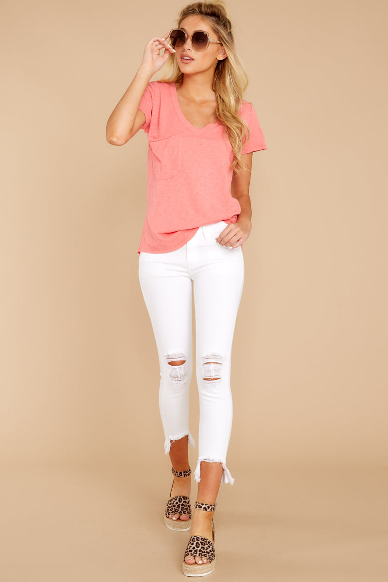 2 The Sugar Coral Cotton Slub Pocket Tee at reddressboutique.com