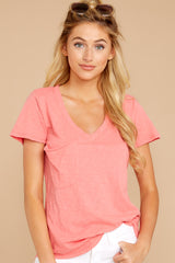 3 The Sugar Coral Cotton Slub Pocket Tee at reddressboutique.com