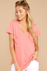 4 The Sugar Coral Cotton Slub Pocket Tee at reddressboutique.com