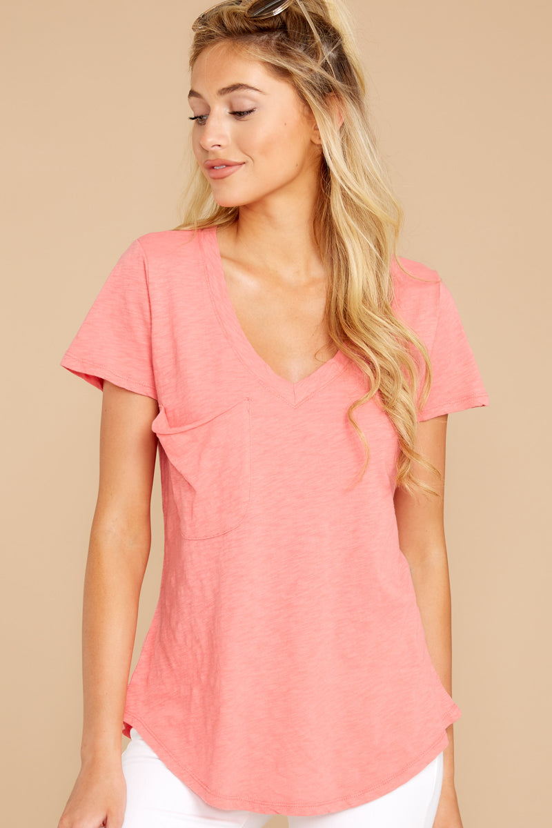 5 The Sugar Coral Cotton Slub Pocket Tee at reddressboutique.com
