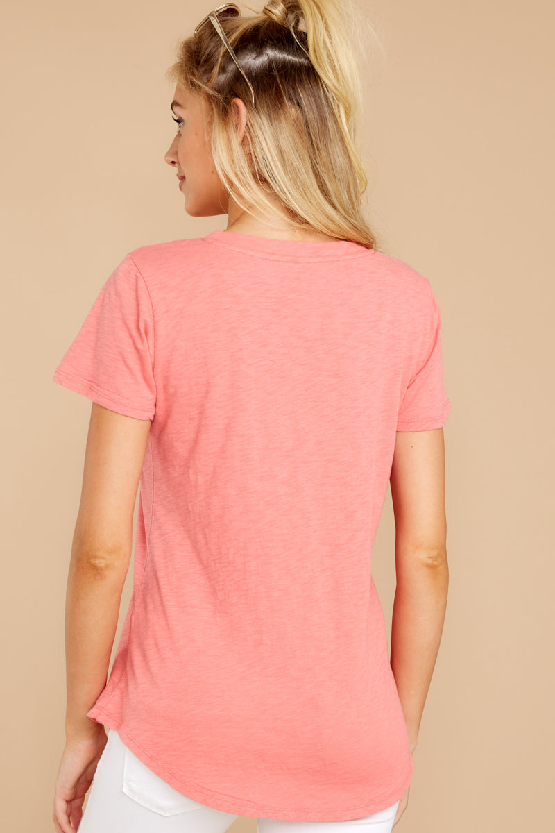 6 The Sugar Coral Cotton Slub Pocket Tee at reddressboutique.com