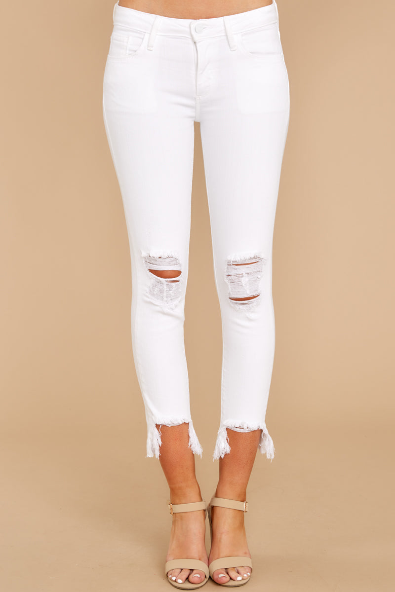2 Charge Ahead White Distressed Skinny Jeans at reddressboutique.com