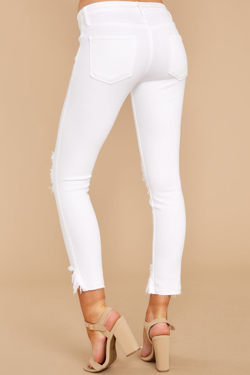 3 Charge Ahead White Distressed Skinny Jeans at reddressboutique.com