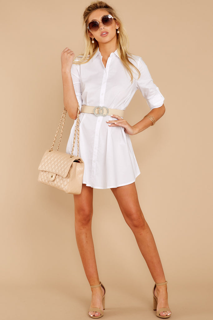 1b64bbd6d3f4 This Means Business White Button Up Dress