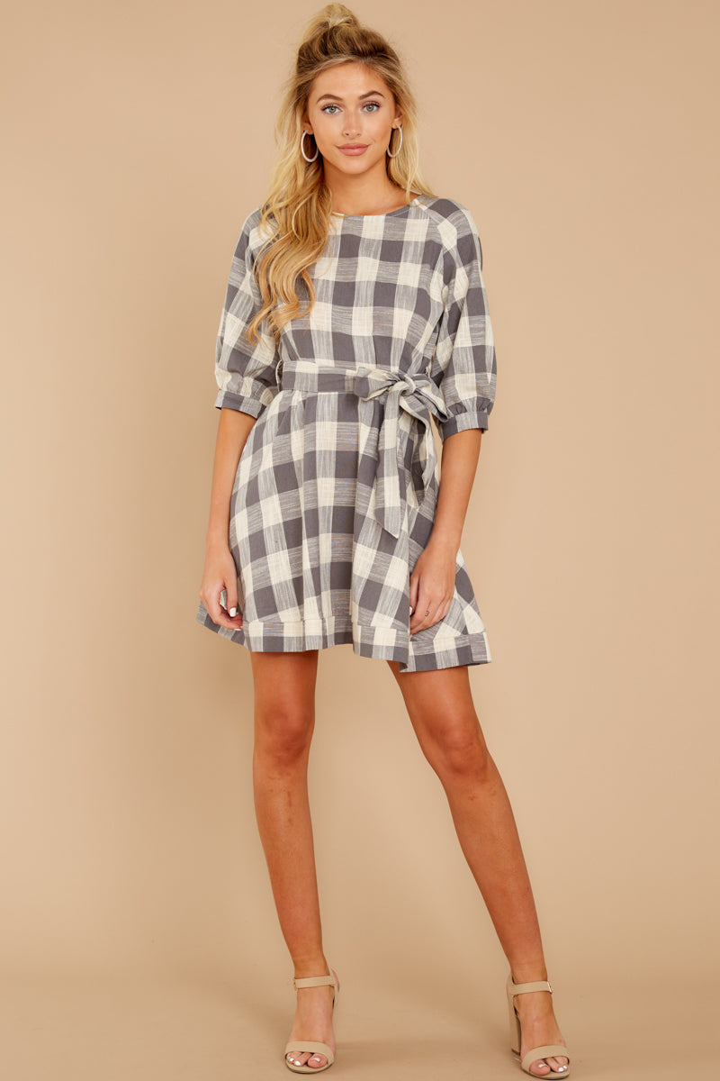 1 Always Here Always There Charcoal Grey Gingham Dress at reddressboutique.com