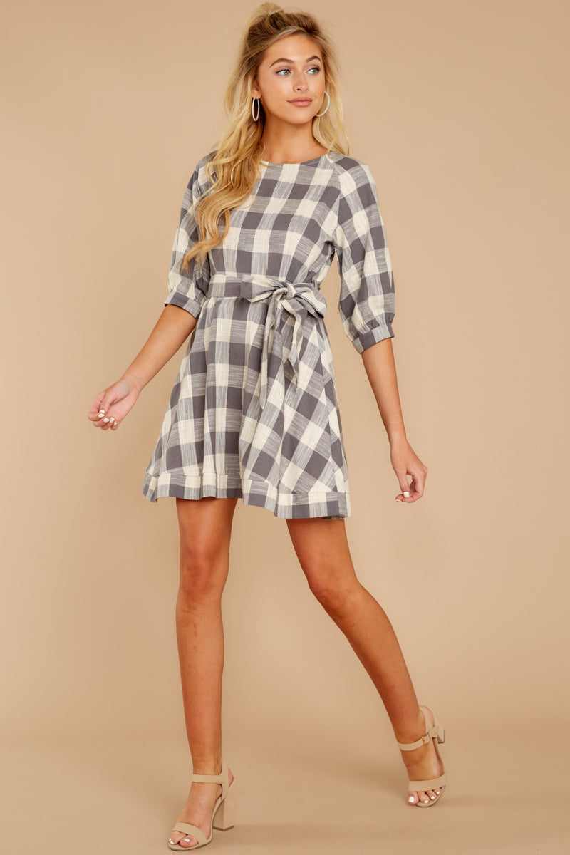 2 Always Here Always There Charcoal Grey Gingham Dress at reddressboutique.com