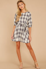 3 Always Here Always There Charcoal Grey Gingham Dress at reddressboutique.com