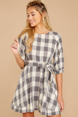 4 Always Here Always There Charcoal Grey Gingham Dress at reddressboutique.com
