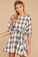 5 Always Here Always There Charcoal Grey Gingham Dress at reddressboutique.com