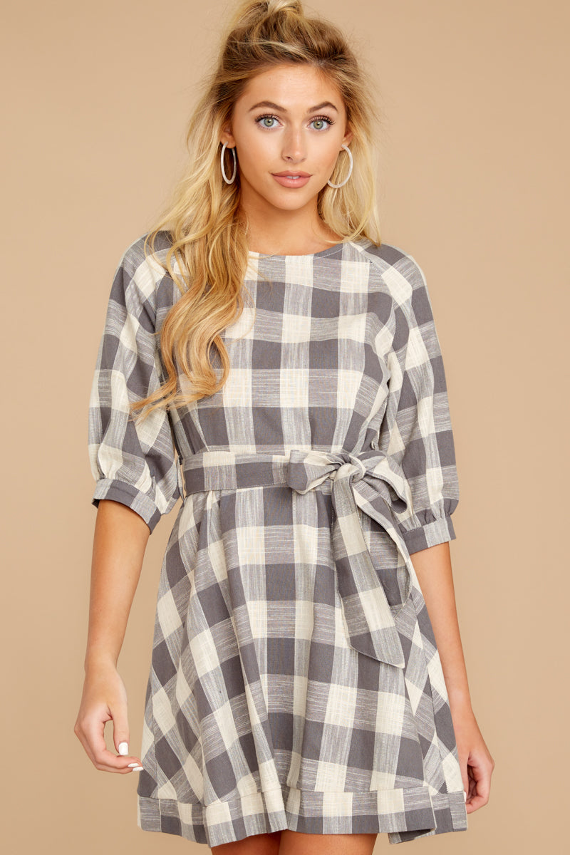 6 Always Here Always There Charcoal Grey Gingham Dress at reddressboutique.com
