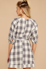7 Always Here Always There Charcoal Grey Gingham Dress at reddressboutique.com