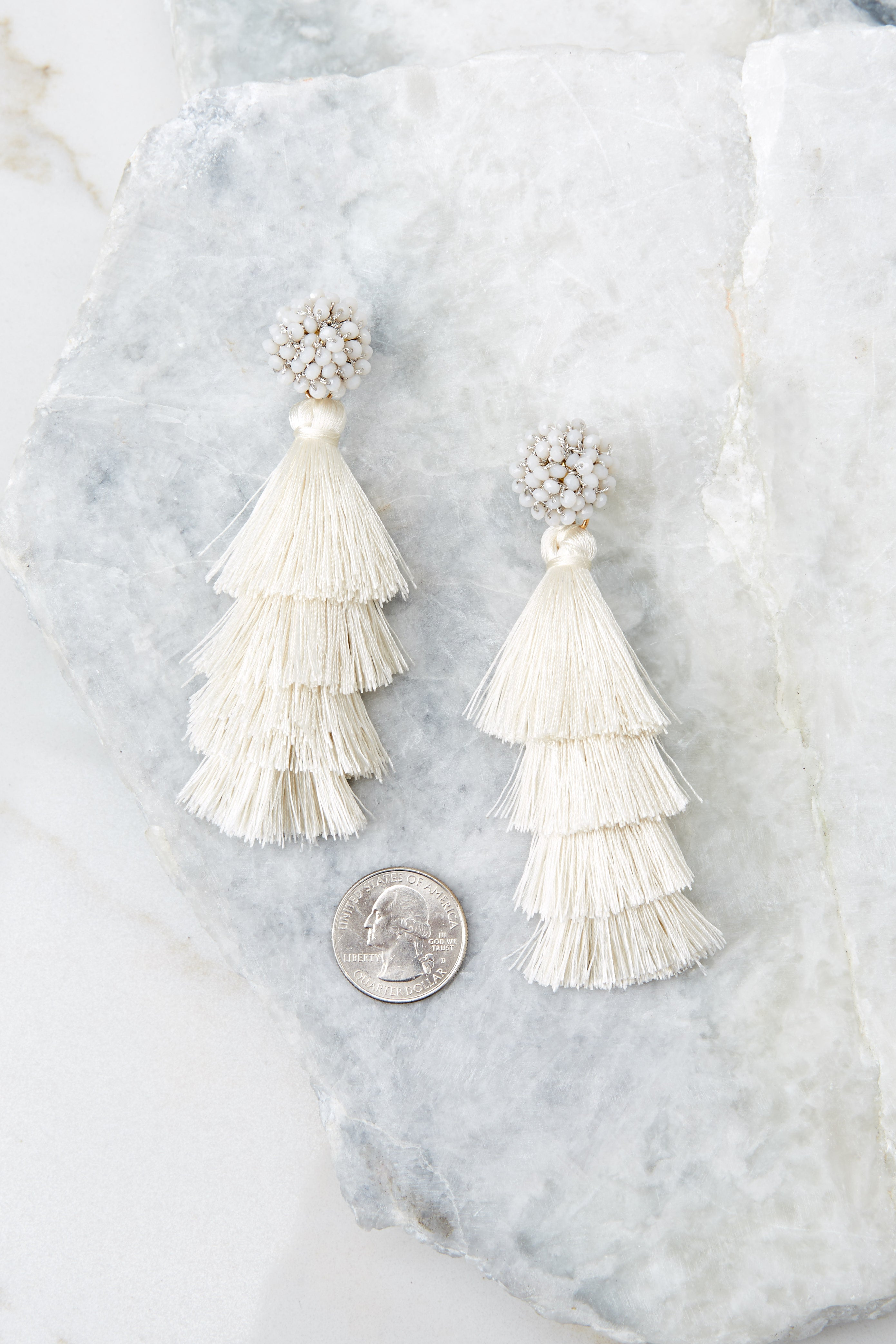 3 Decision Time Ivory Statement Earrings at reddressboutique.com