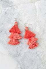 2 The Last Moment Coral Pink Tassel Earrings at reddress.com