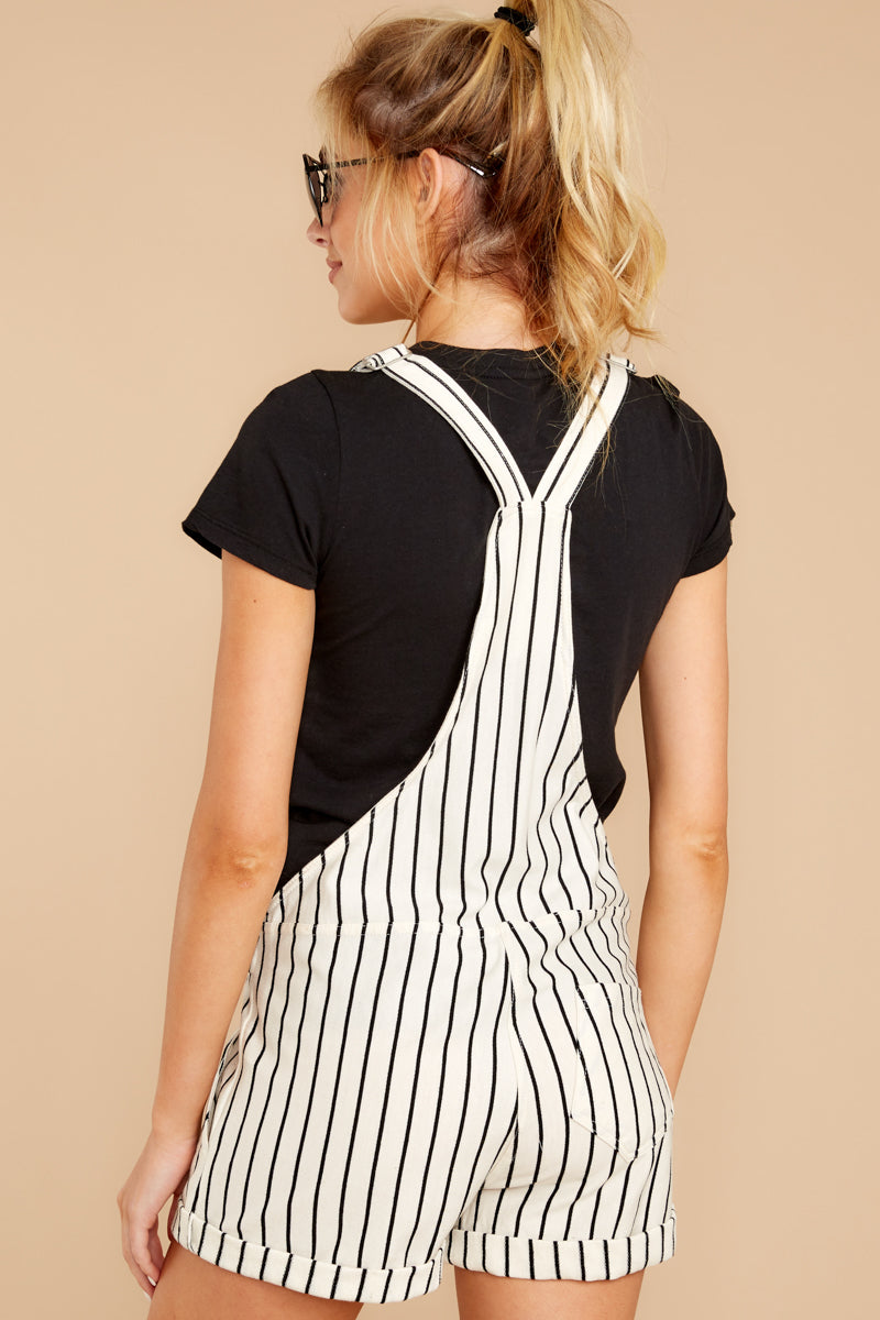 The Pinstripe Pearl Short Overalls