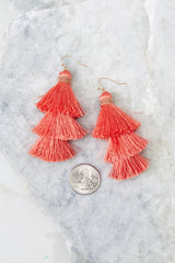 3 The Last Moment Coral Pink Tassel Earrings at reddress.com