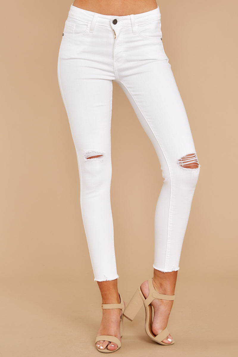 f079339f12f30 Sexy White Distressed Denim Jeans - Ripped Skinny Jeans - Pants ...