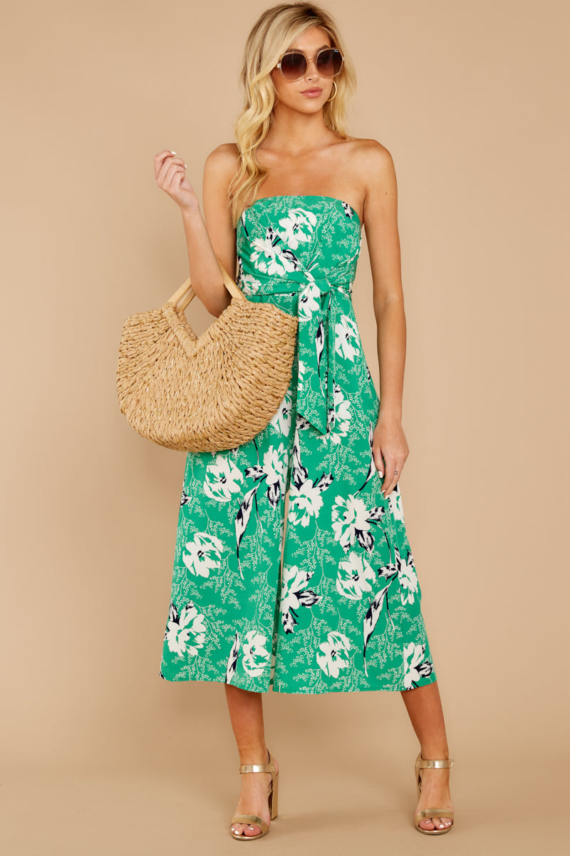2 Just By You Green Floral Print Jumpsuit at reddressboutique.com