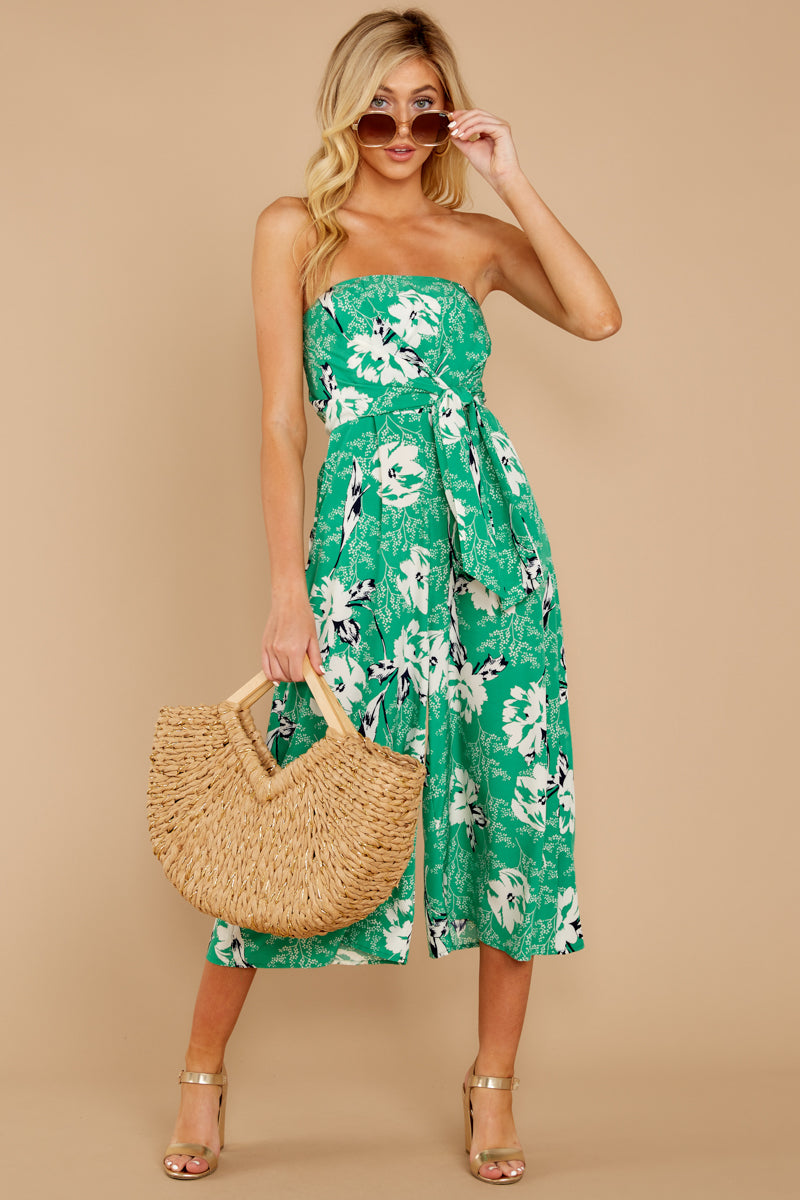 3 Just By You Green Floral Print Jumpsuit at reddressboutique.com
