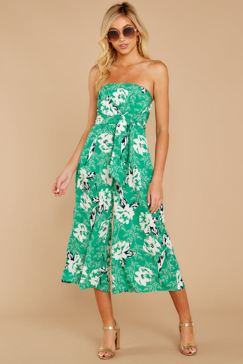 4 Just By You Green Floral Print Jumpsuit at reddressboutique.com