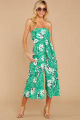 5 Just By You Green Floral Print Jumpsuit at reddressboutique.com