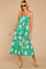 6 Just By You Green Floral Print Jumpsuit at reddressboutique.com