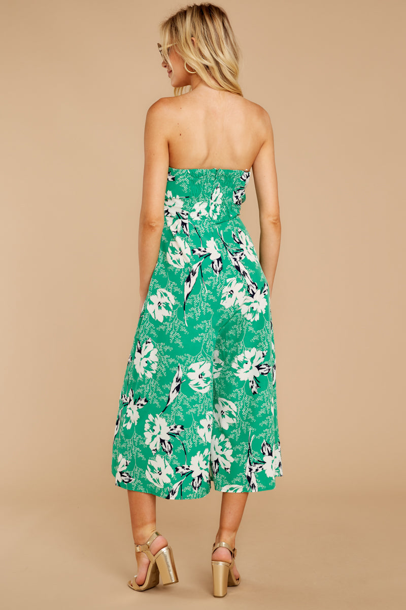 7 Just By You Green Floral Print Jumpsuit at reddressboutique.com
