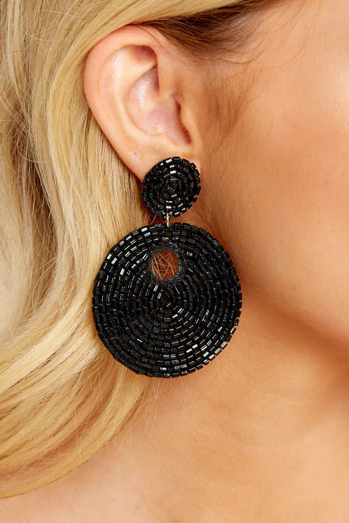 1 No Questions Asked Black Beaded Earrings at reddressboutique.com
