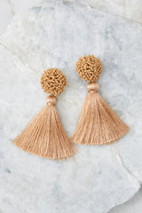 2 Give Me It All Tan Statement Earrings at reddressboutique.com