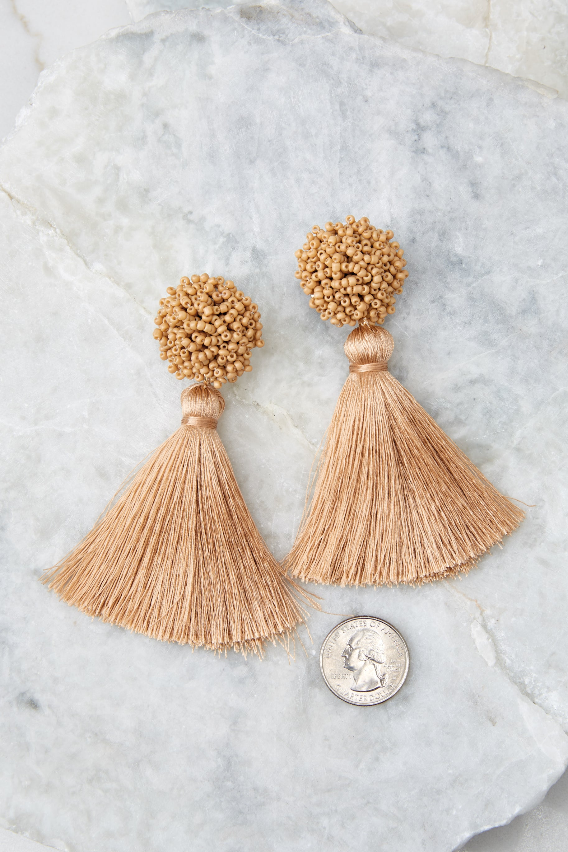 3 Give Me It All Tan Statement Earrings at reddressboutique.com