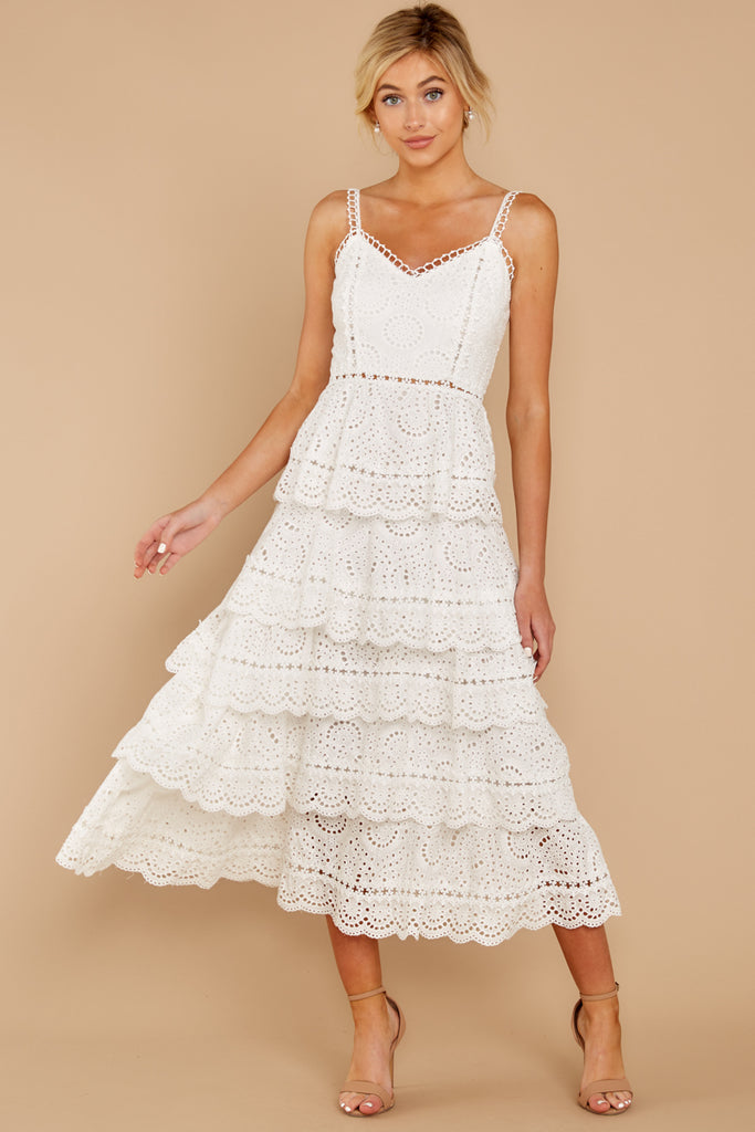 d7036caf559 Stunning White Lace Maxi Dress - Sleeveless Tiered Maxi - Dress -  96 – Red  Dress
