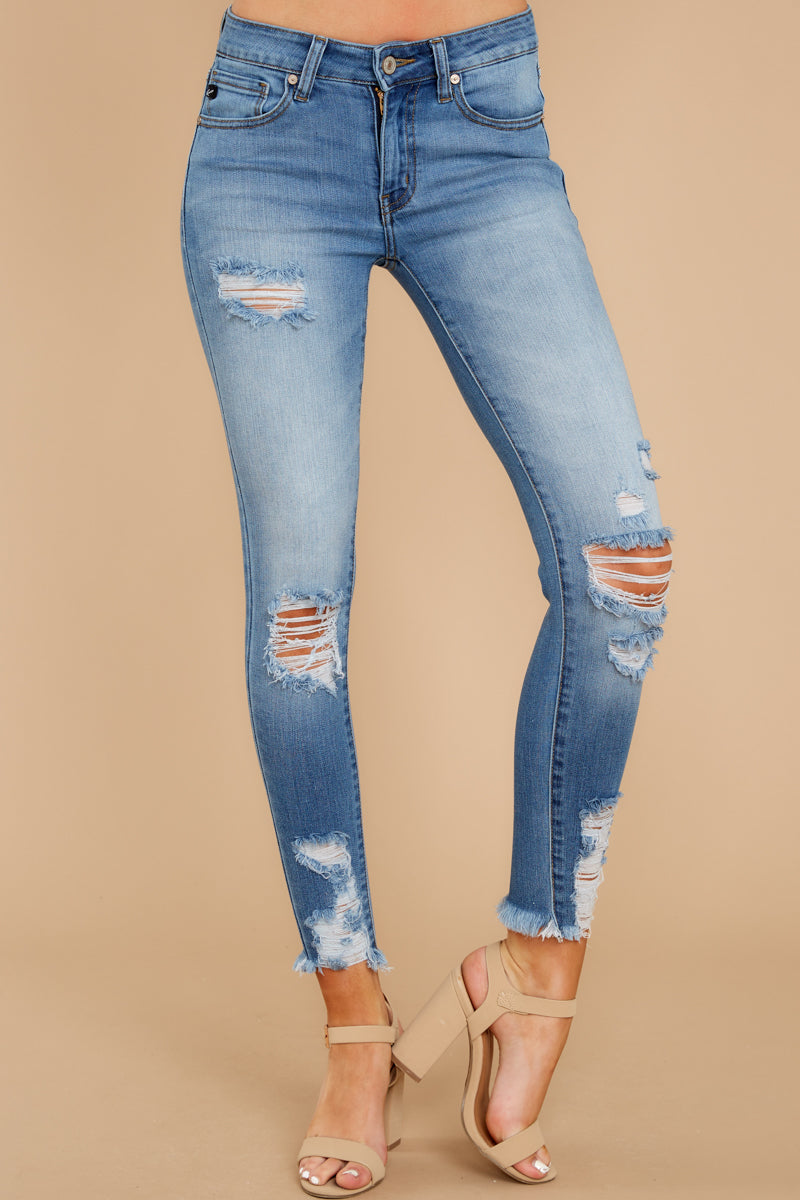 3c0095dbf1c Sassy Cropped Medium Wash Jeans - Ripped Skinny Jeans - Pants ...