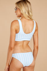 7 Surf's Up Light Blue Stripe Bikini Top at reddressboutique.com