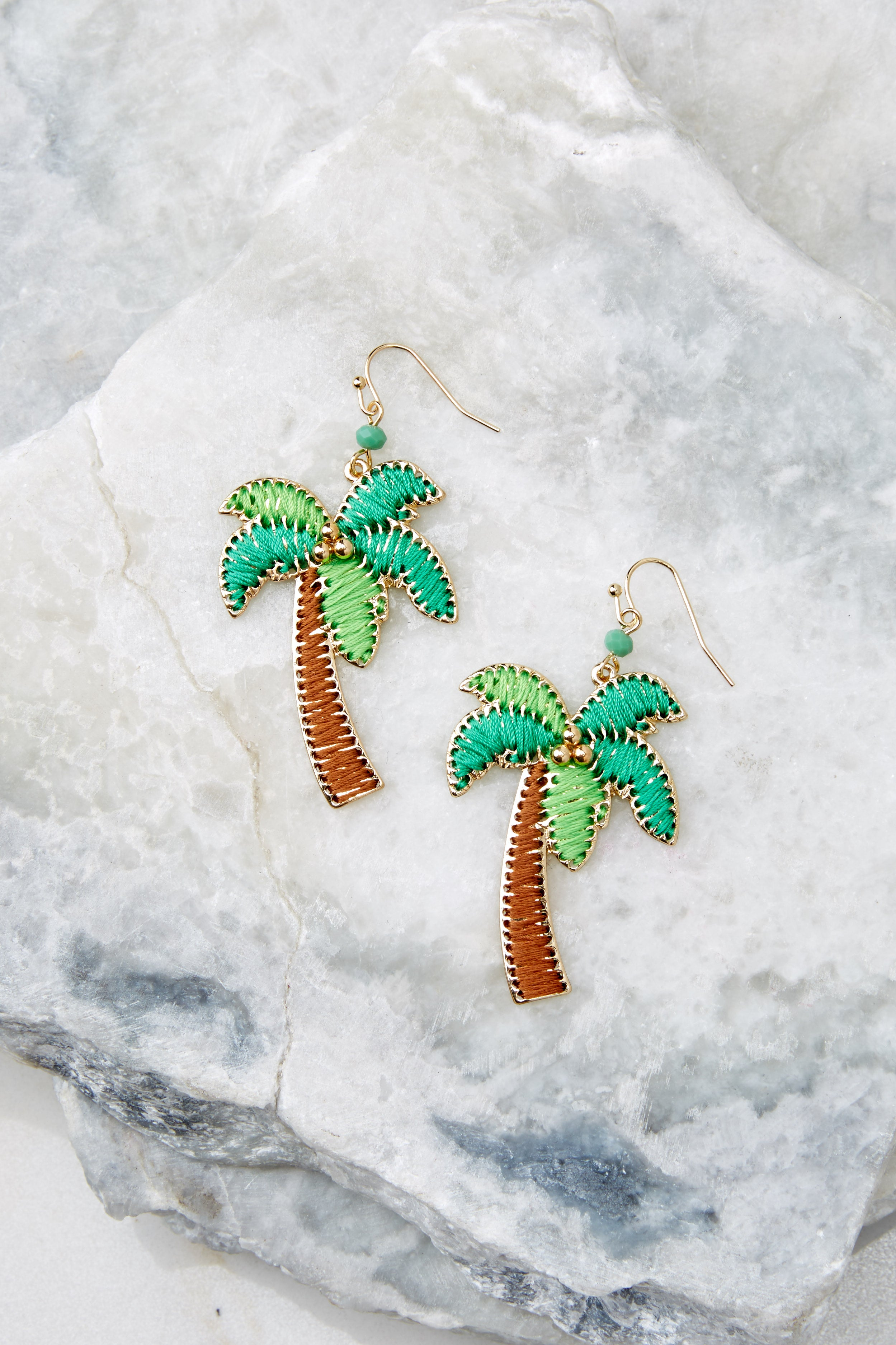 3 Going Coconuts Palm Tree Earrings at reddressboutique.com