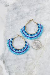 3 Hidden Feelings Blue Beaded Earrings at reddressboutique.com