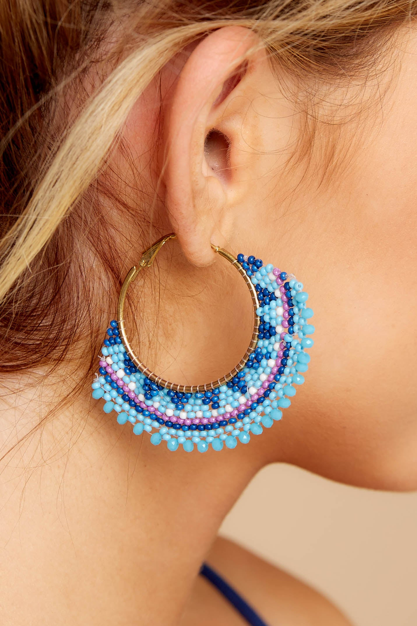Hidden Feelings Blue Beaded Earrings