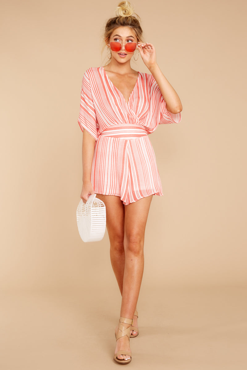 1 Get It Together Coral Pink Stripe Romper at reddressboutique.com