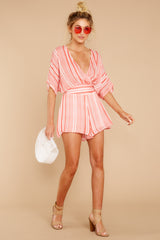 3 Get It Together Coral Pink Stripe Romper at reddressboutique.com