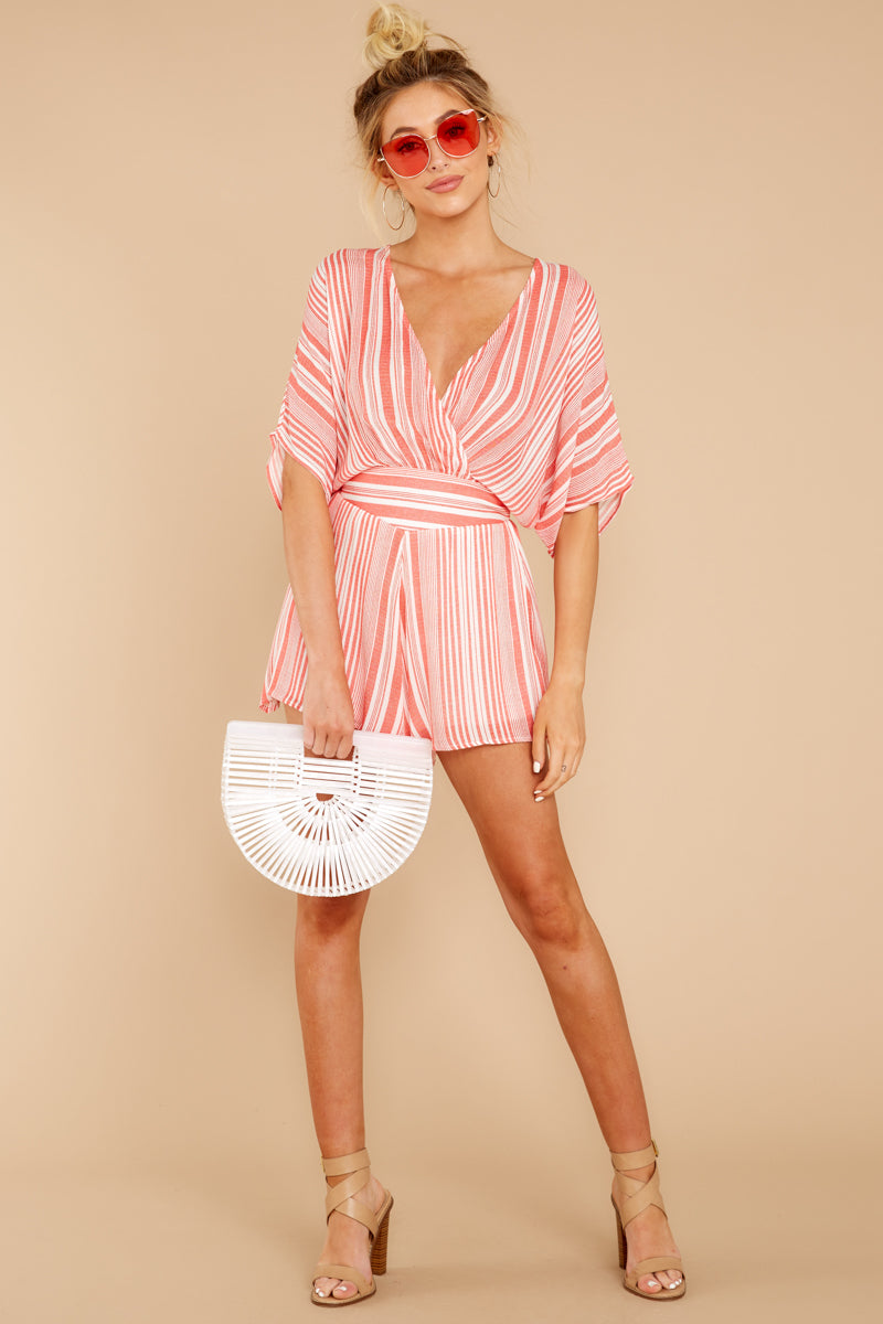 2 Get It Together Coral Pink Stripe Romper at reddressboutique.com