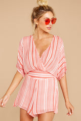 4 Get It Together Coral Pink Stripe Romper at reddressboutique.com