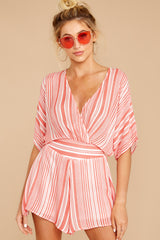 6 Get It Together Coral Pink Stripe Romper at reddressboutique.com