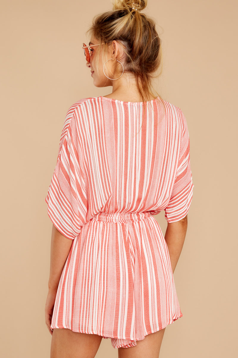 7 Get It Together Coral Pink Stripe Romper at reddressboutique.com