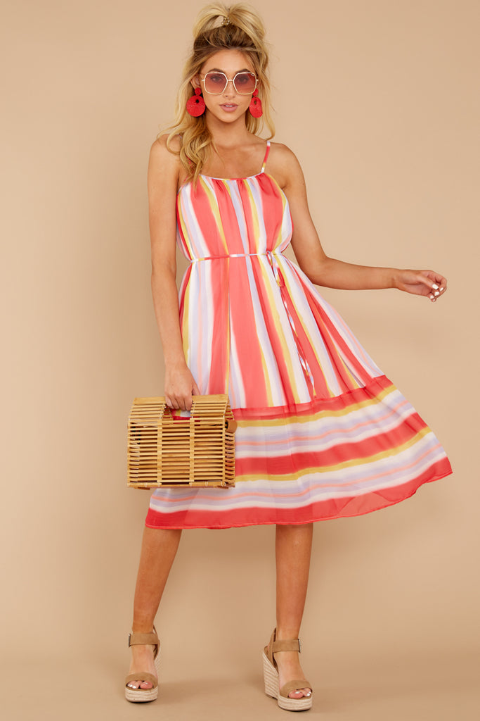 1 Welcome To Happy Coral Print Dress at reddressboutique.com