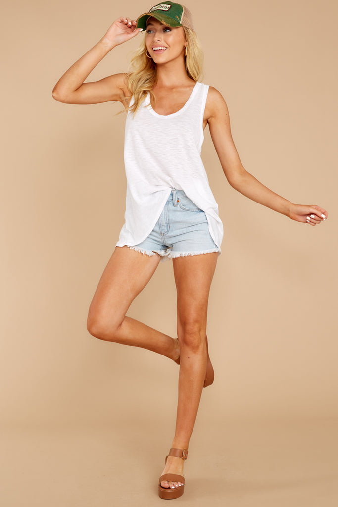 1 Somewhere Safe Light Wash Distressed Denim Shorts at reddressboutique.com