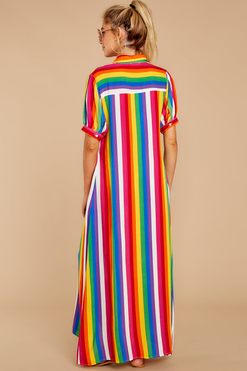 7 Jubilee With Me Rainbow Stripe Button Up Maxi Dress at reddressboutique.com