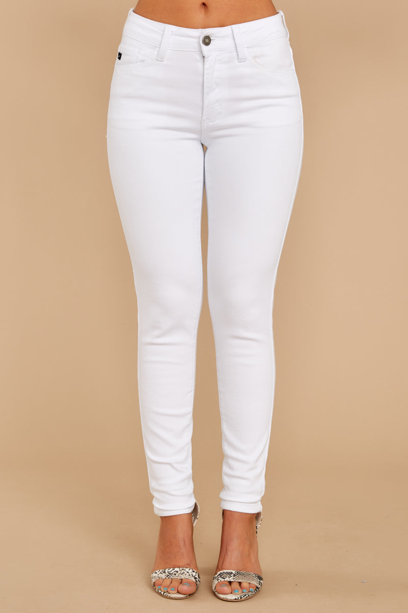 2 Rise Up White Petite Skinny Jeans at reddressboutique.com