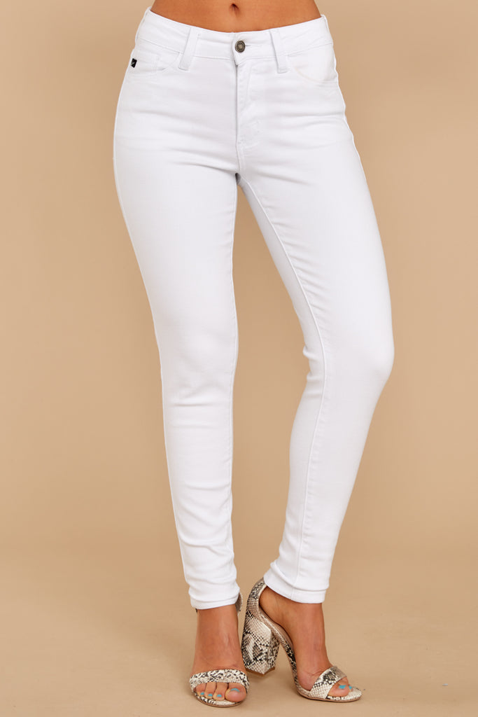 1 Simple Desires White Distressed Skinny Jeans at reddressboutique.com