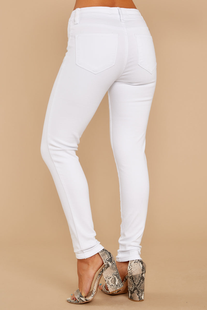 3 Rise Up White Petite Skinny Jeans at reddressboutique.com
