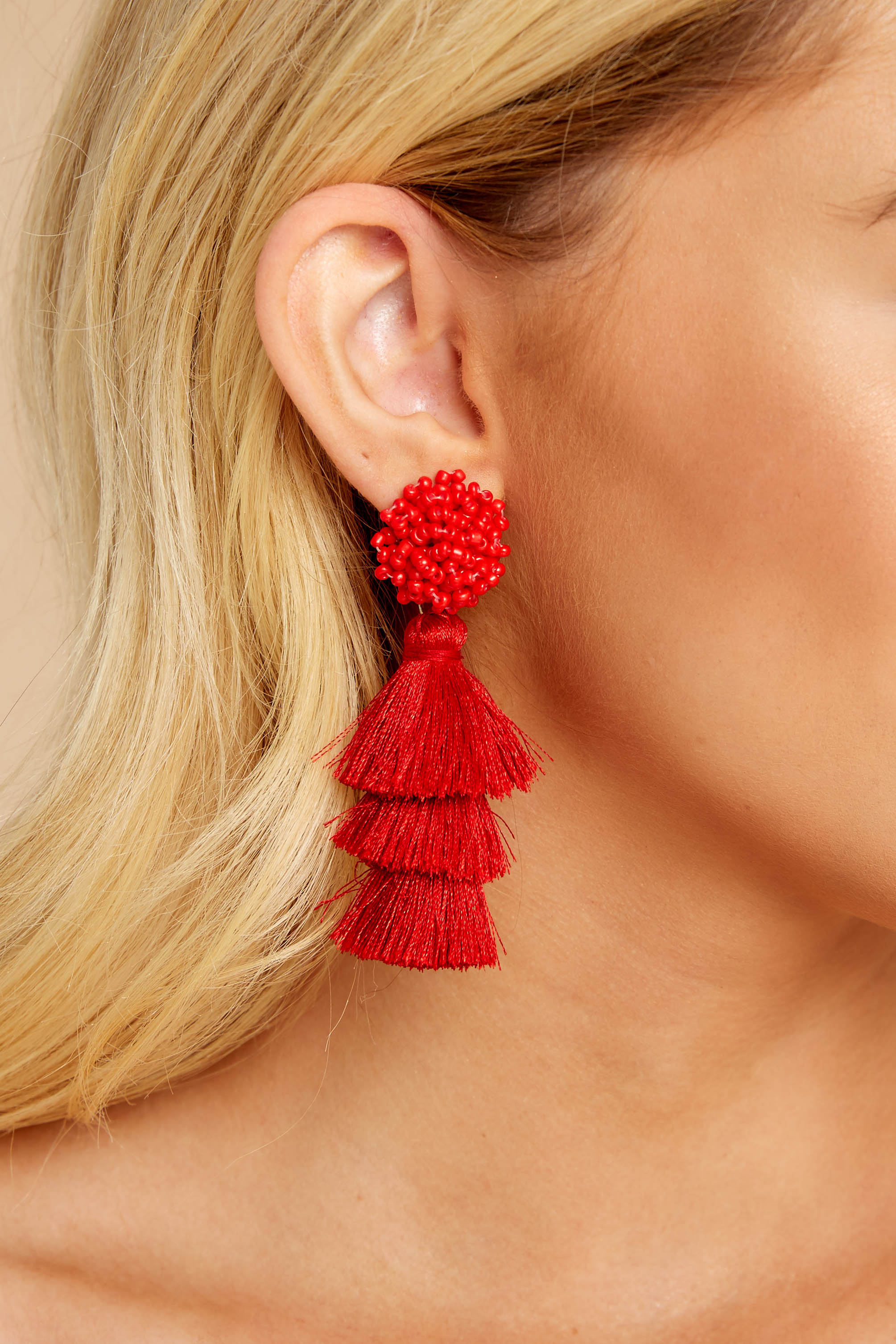 Have It All Red Tassel Statement Earrings